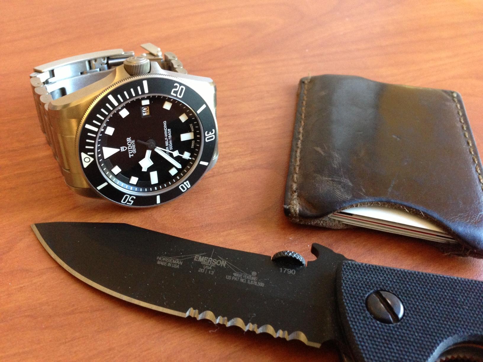 Tudor Pelagos, Saddleback Leather wallet, Emerson Horseman (mini CQC-8)