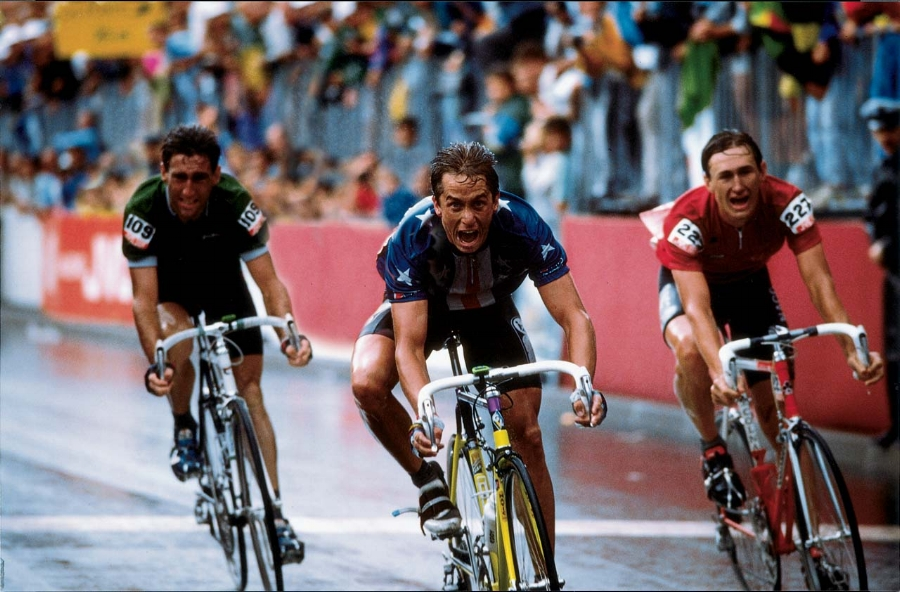 Greg LeMond winning the Tour de France is one of my favorite photographs of all time and one that I always go back to when I think about giving the ultimate physical, emotional, spiritual effort.