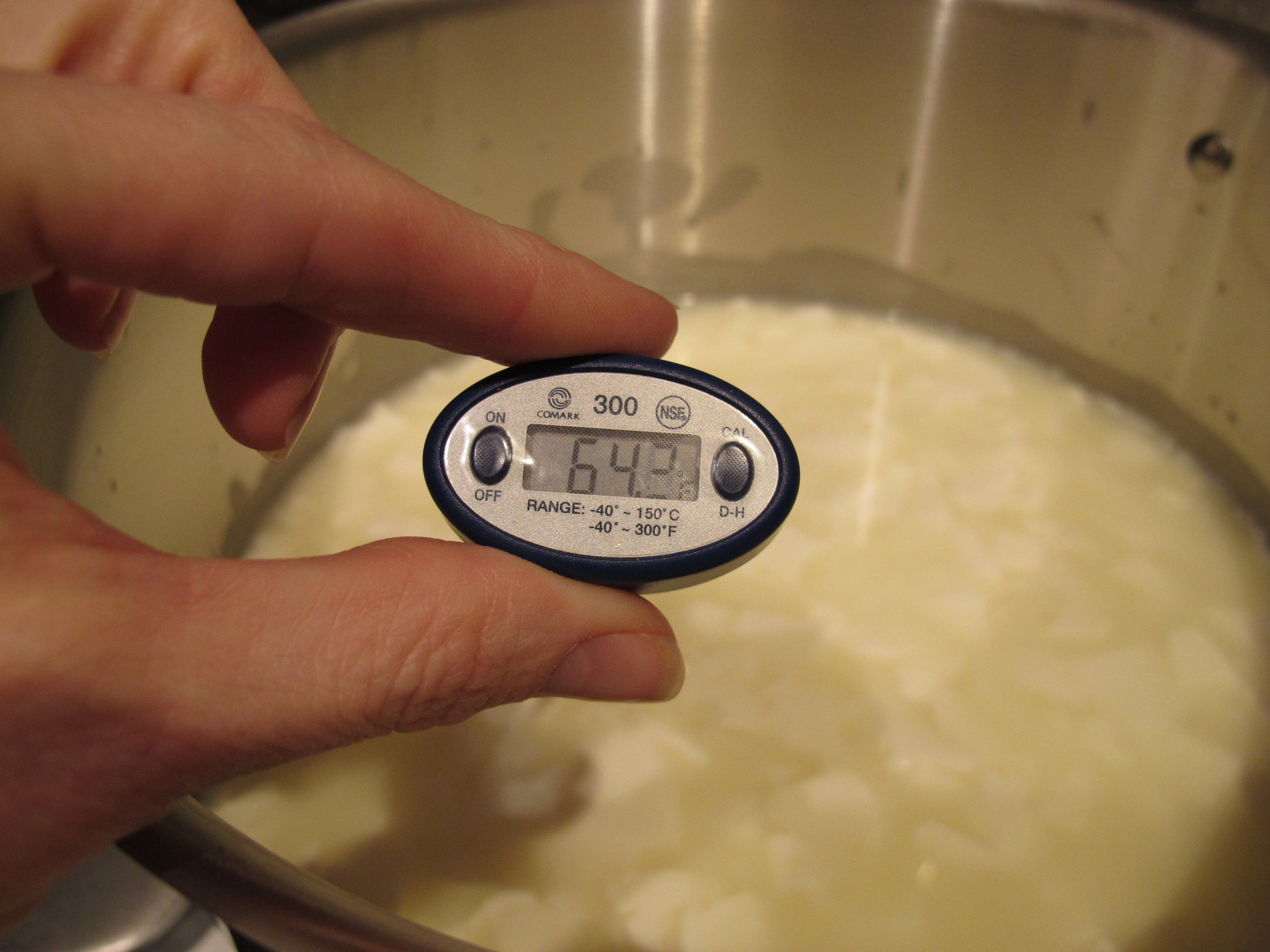 Don't be afraid of the consistency of the milk in the pot as this was actually taken from my cottage cheese making, but I'm getting ahead of myself