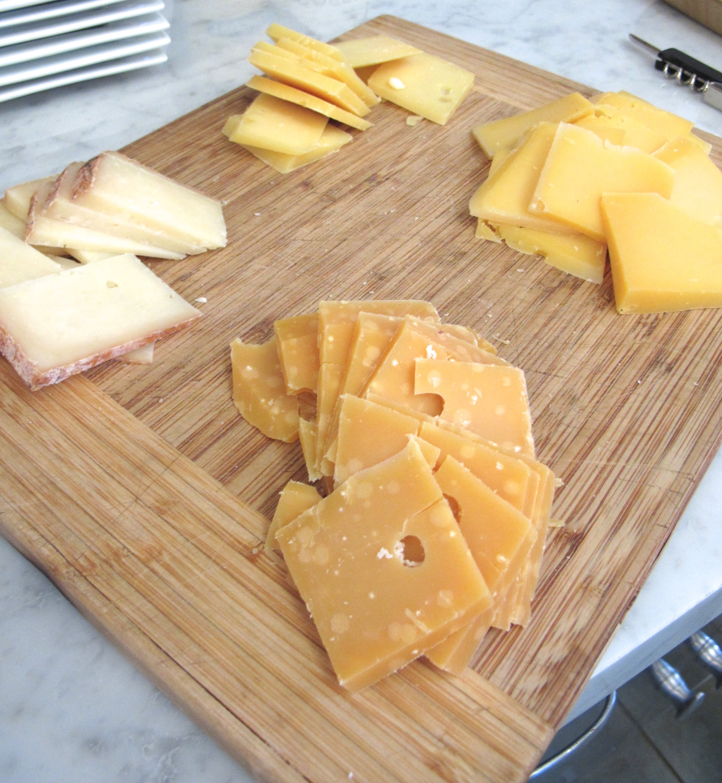 The lightest cheese is the local goat just a few months old, then there's a 6 month aged gouda in the back, a 2 year, and 5 year in front looking all nutty and nice
