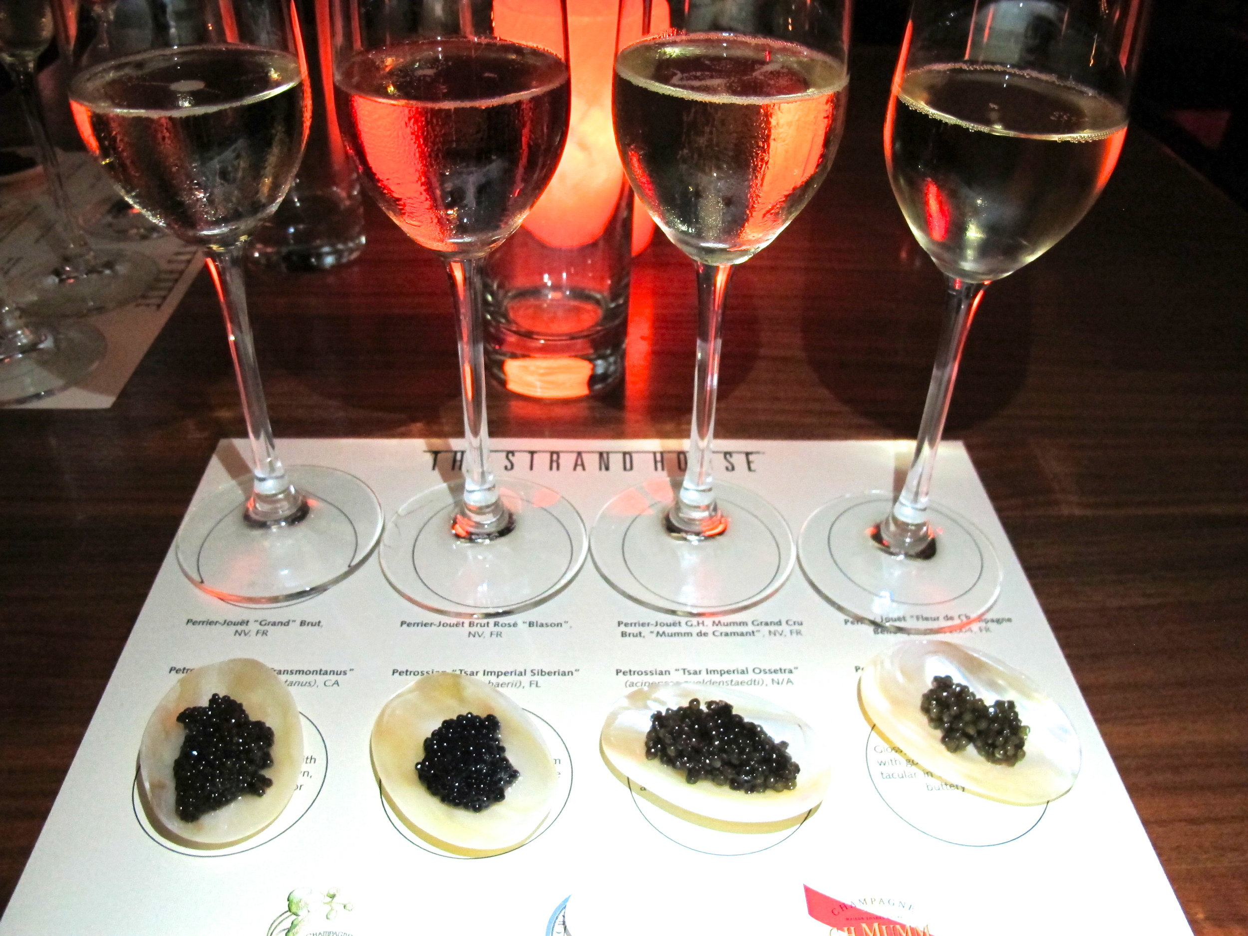 Petrossian cavair tasting with Perrier Jouet champagne