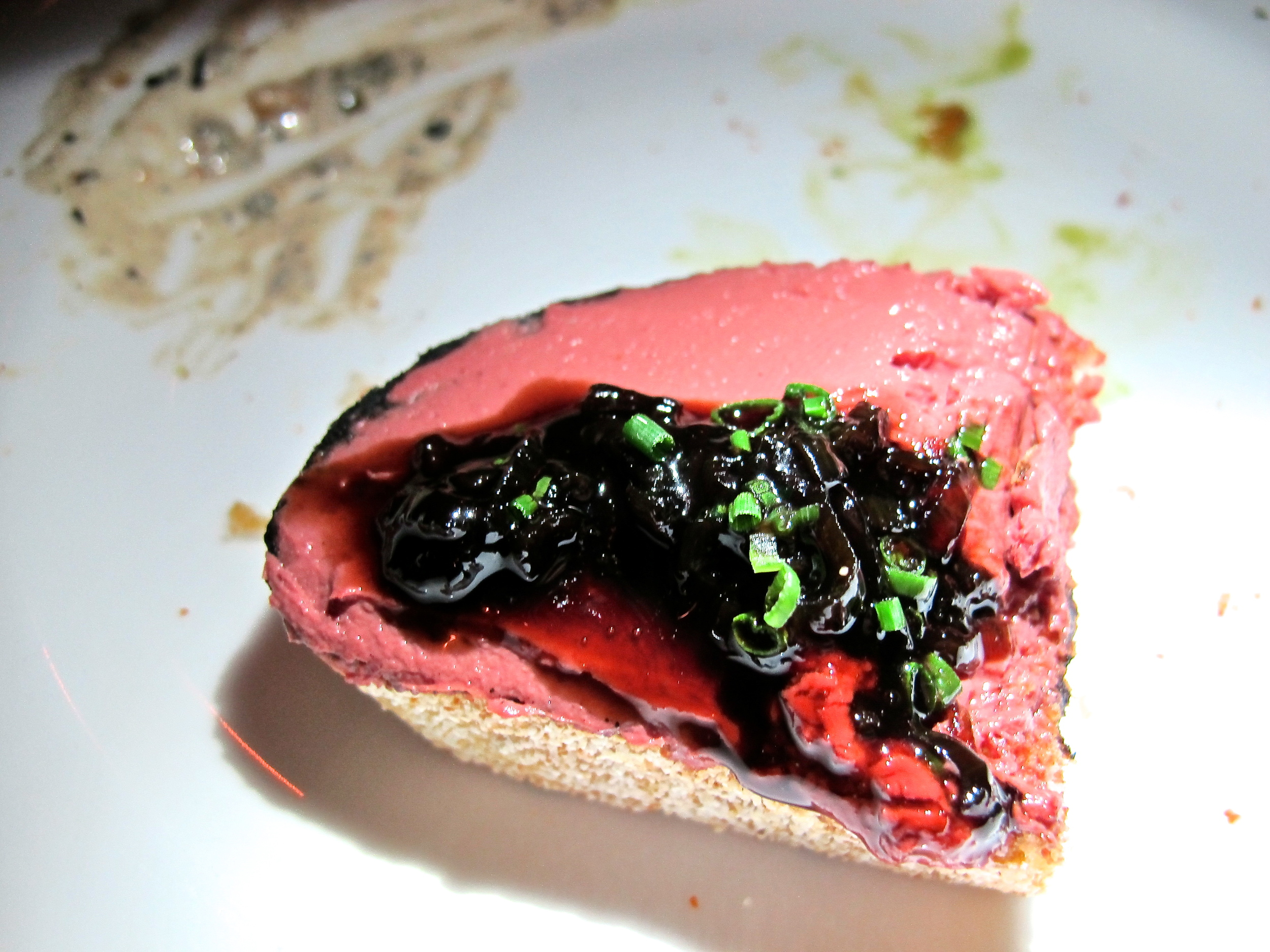 Of course I had to order the chicken liver toast. I always have to get as close as I can to our banned foie gras and this appeased me well.