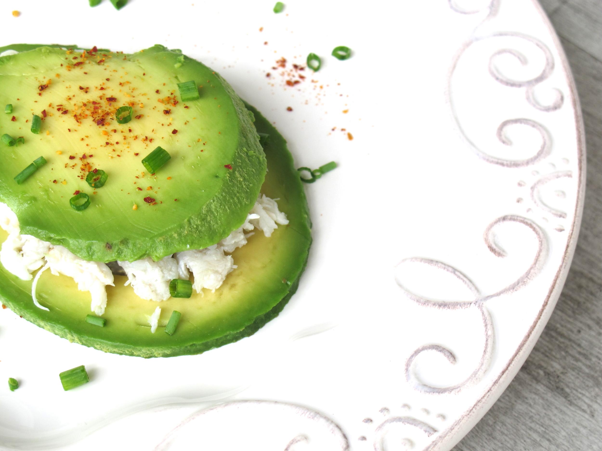 crab between avocado