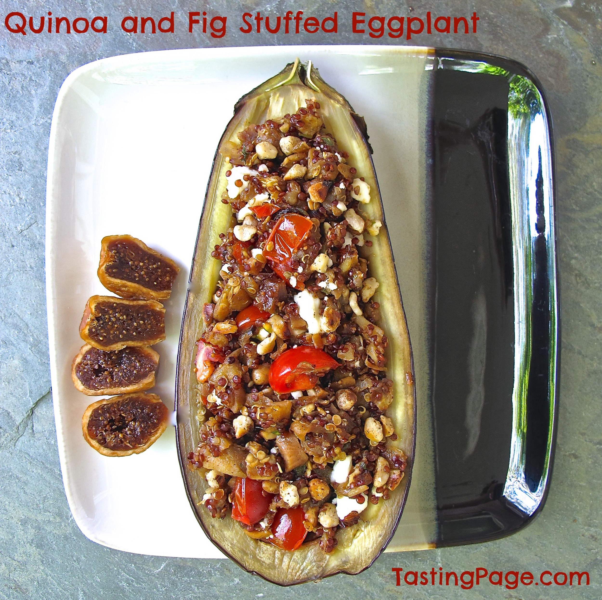quinoa and fig stuffed eggplant