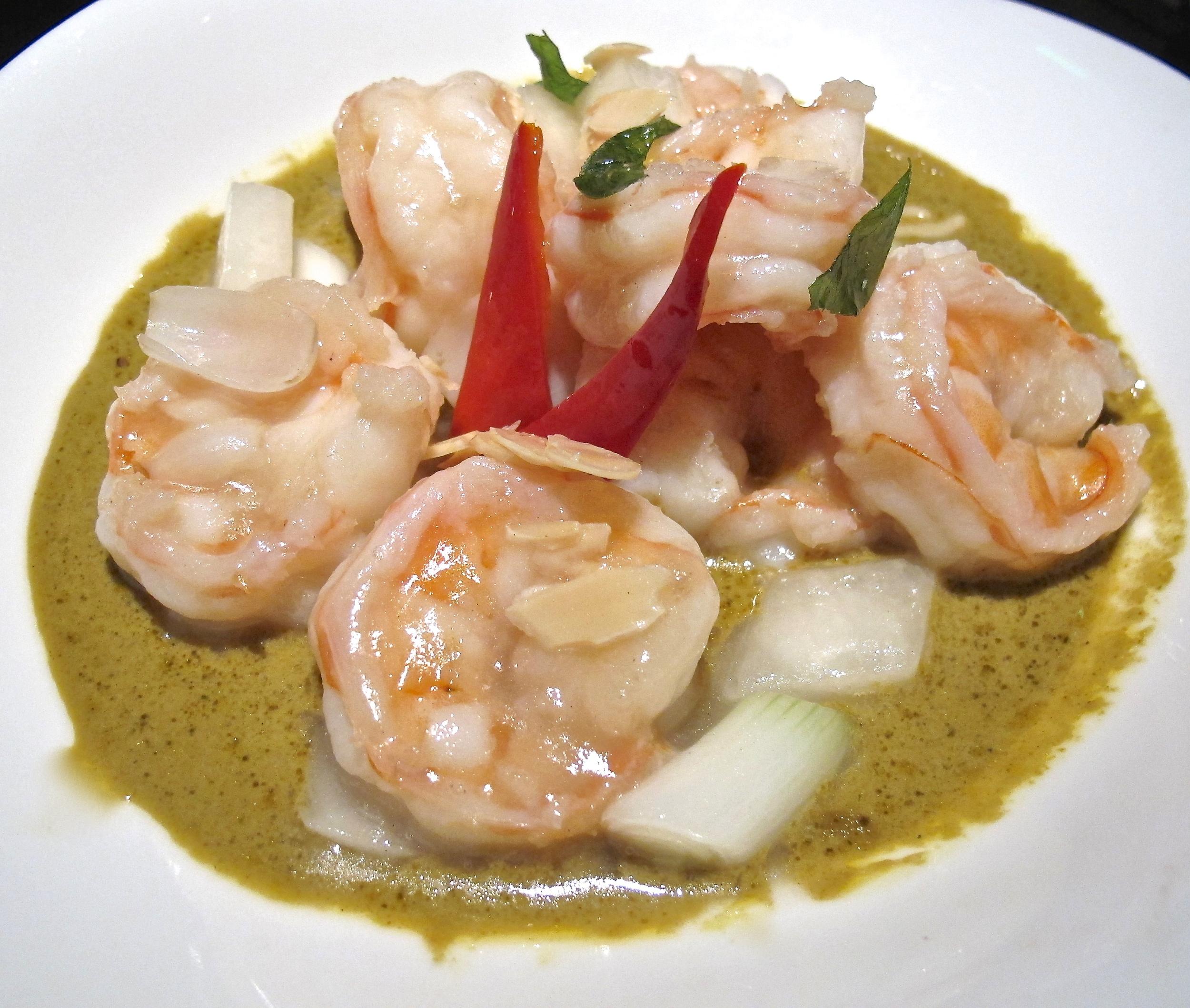 Hakkasan's spicy curry prawns