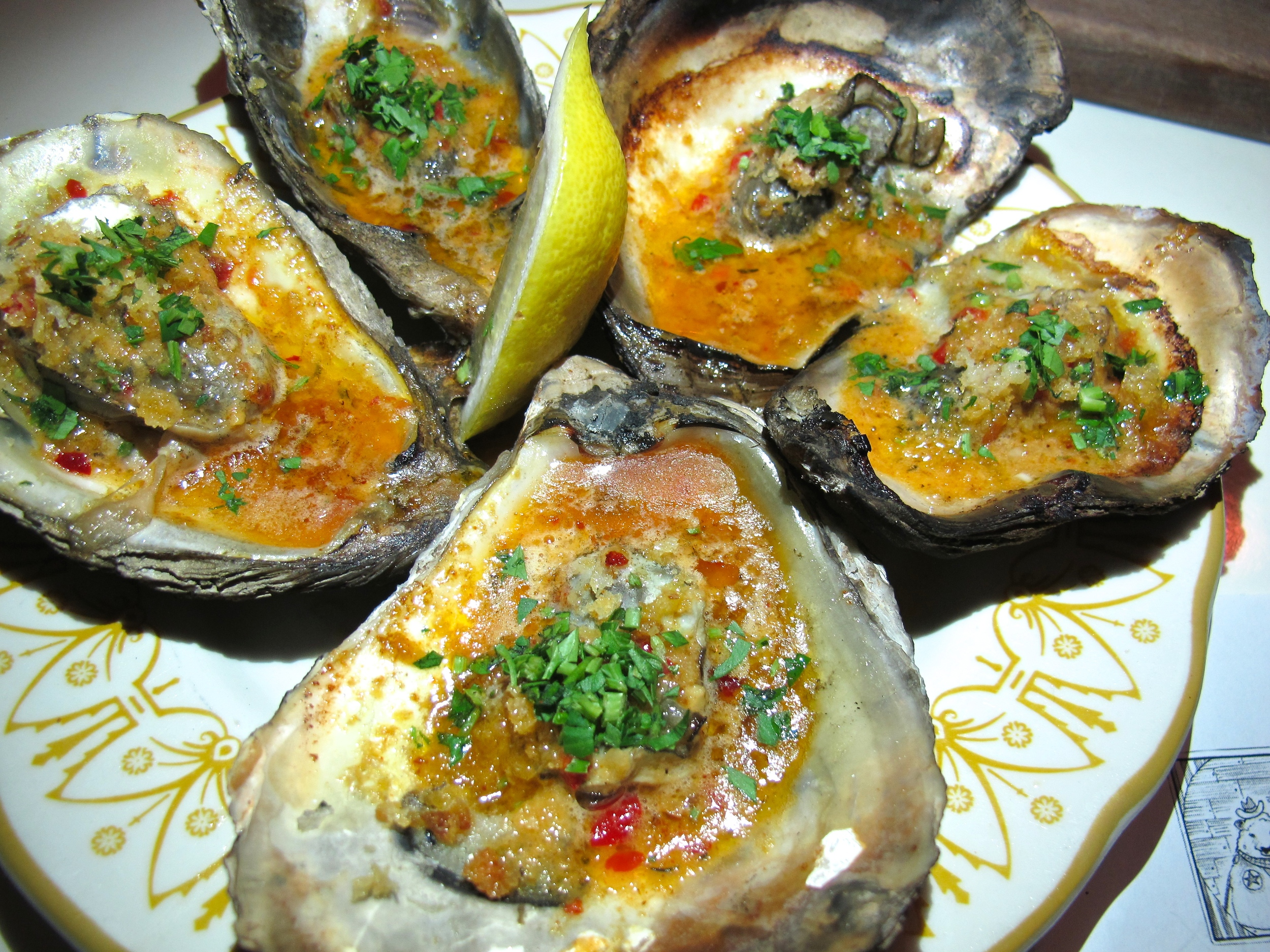Hart and Hunter barbecued oysters
