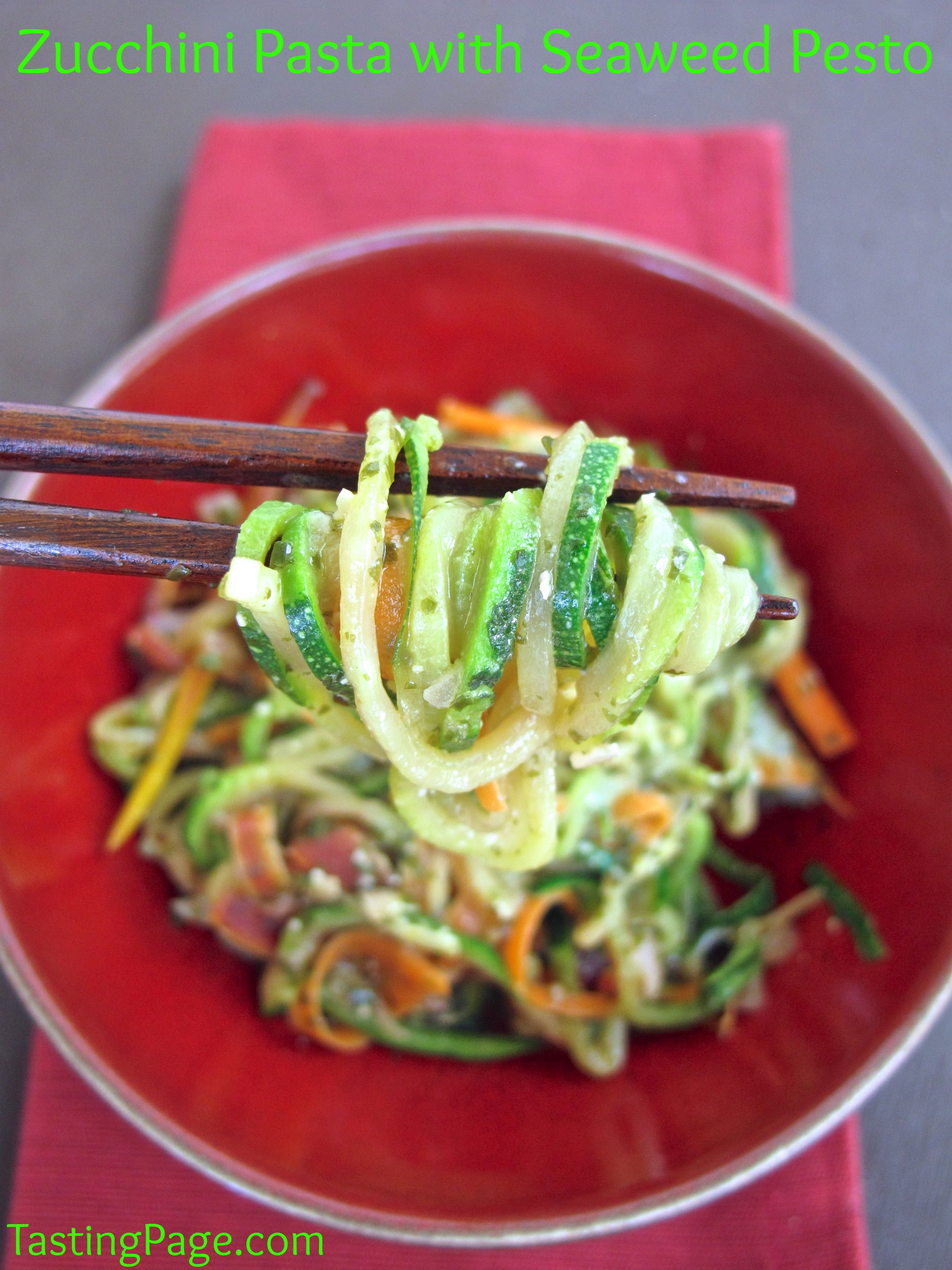 zucchini pasta with seaweed pesto