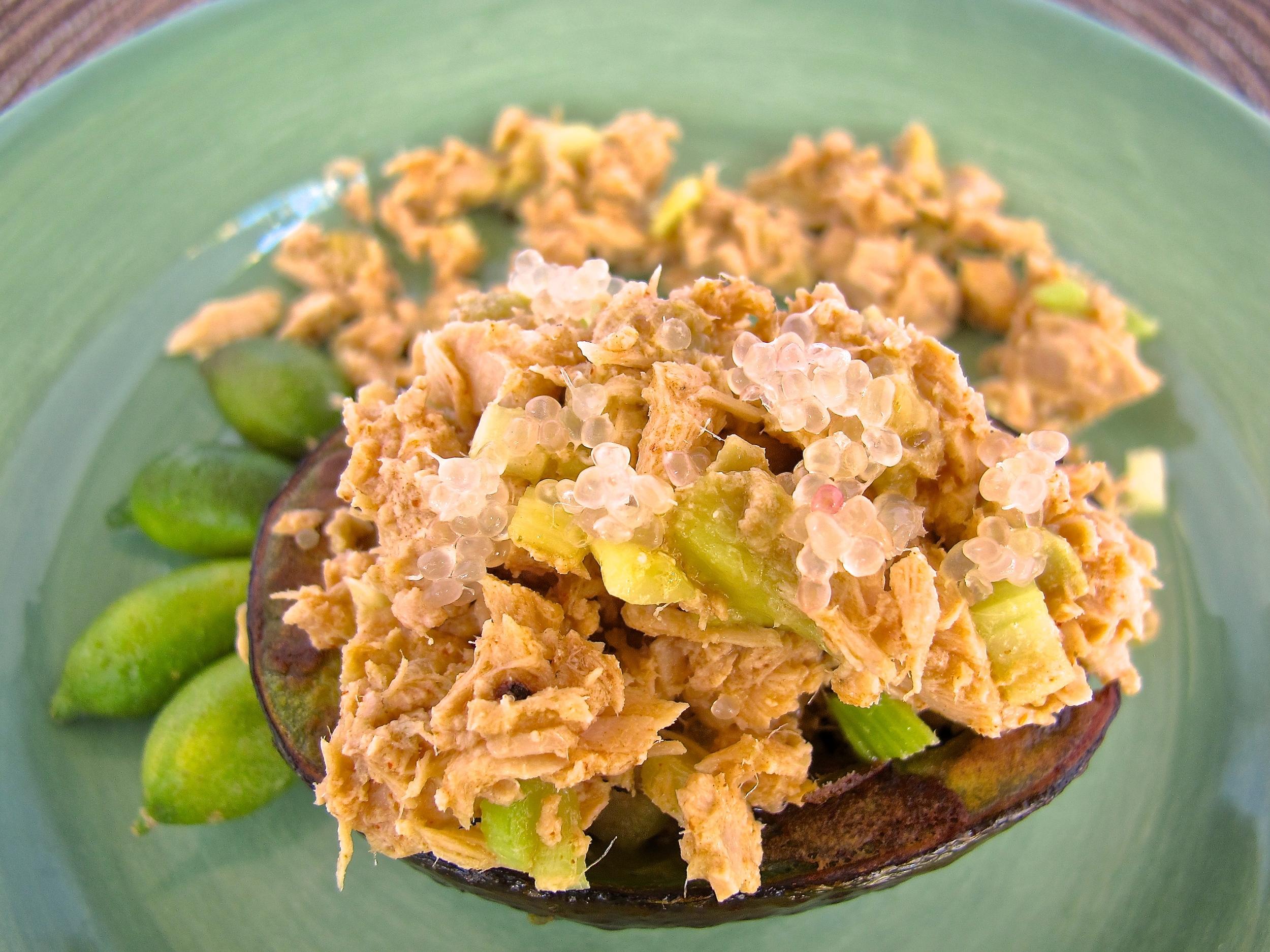Tuna Stuffed Avocado with Finger Lime Vinaigrette