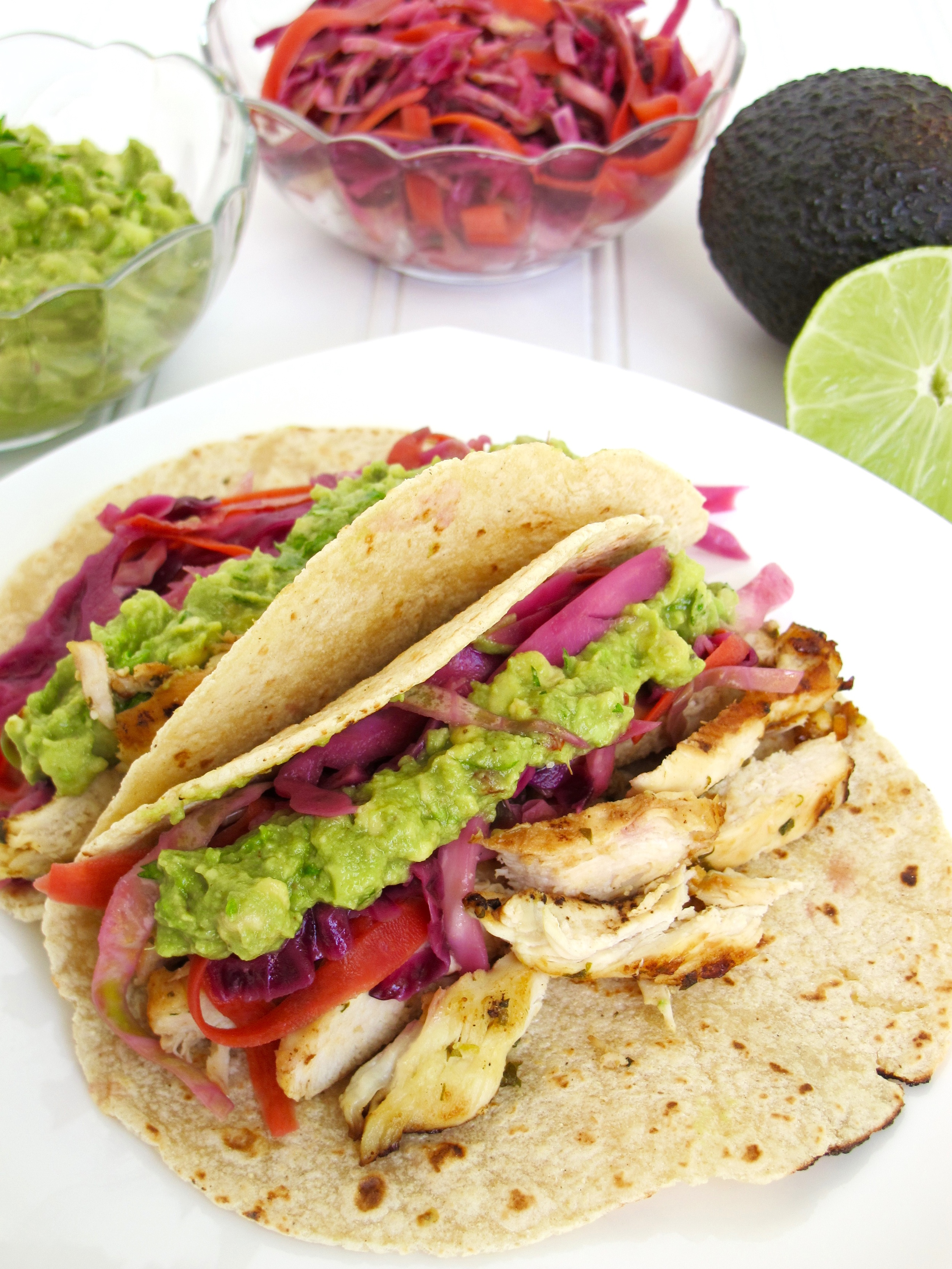 Chicken Tacos with Spicy Cabbage Slaw and Guacamole
