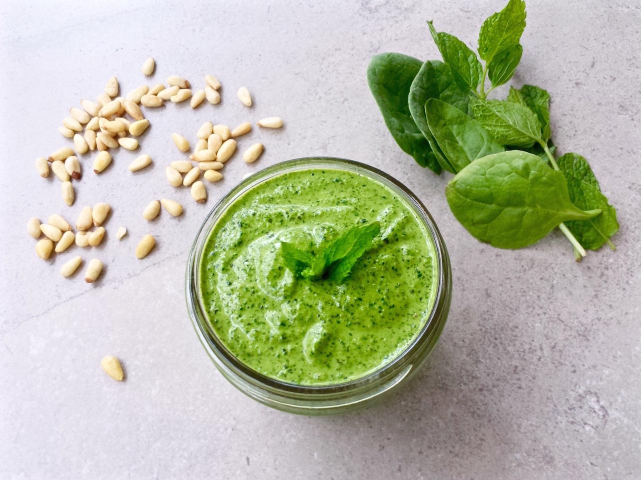 Spinach Mint Pesto - dairy free | TastingPage