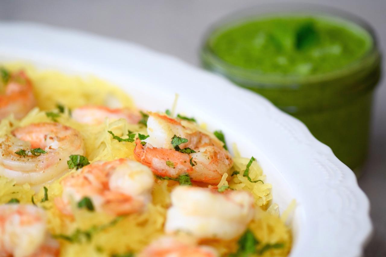 Spaghetti squash shrimp vegan pesto | TastingPage