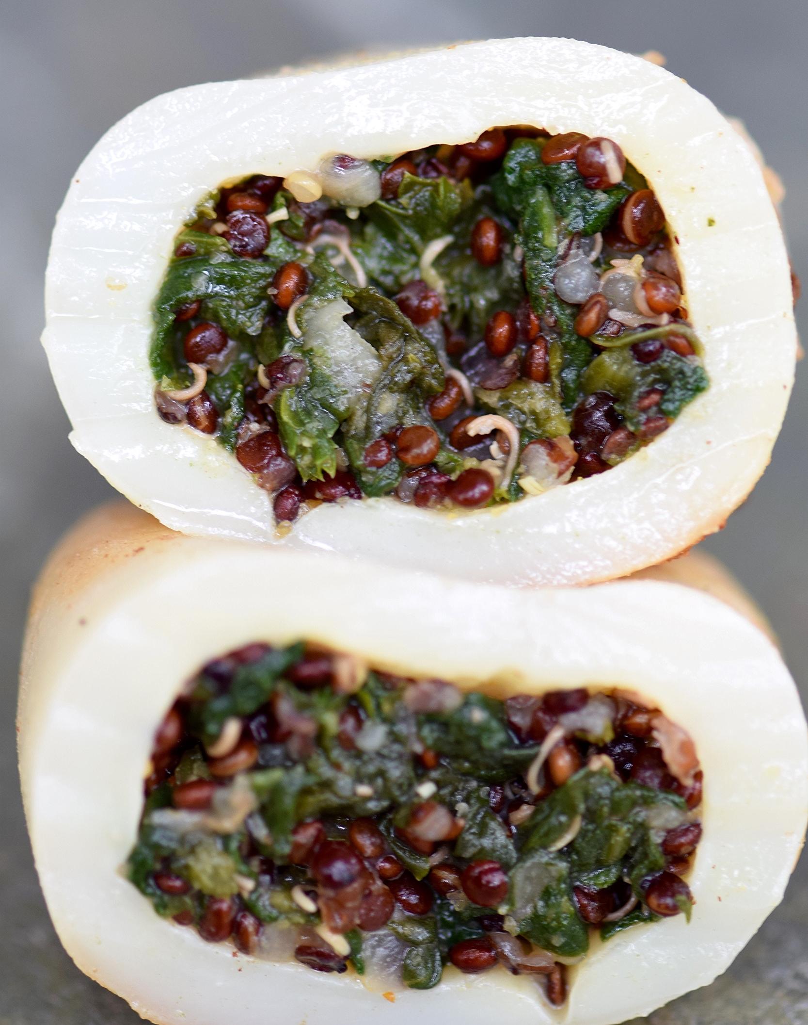 Calamari Stuffed Quinoa and Spinach