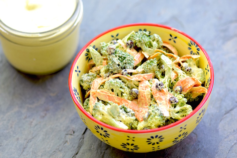 Broccoli Salad with Cashew Curry Dressing