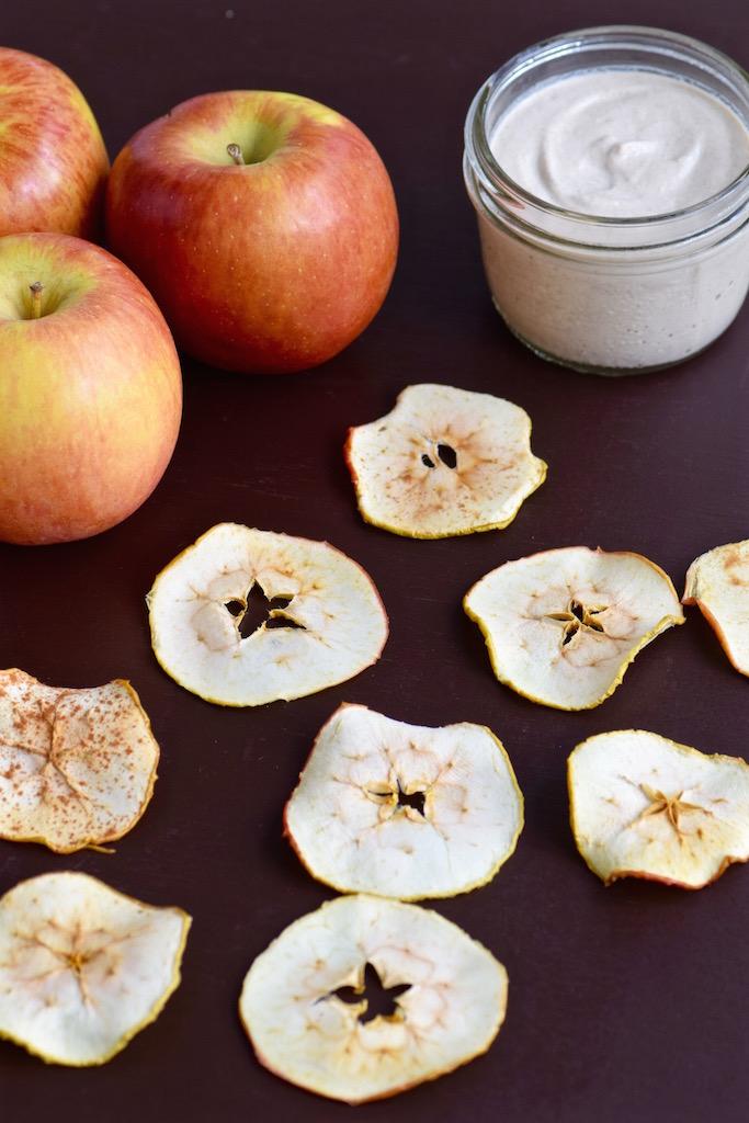 Apple Chips with Cashew Cinnamon Dip | TastingPage.com
