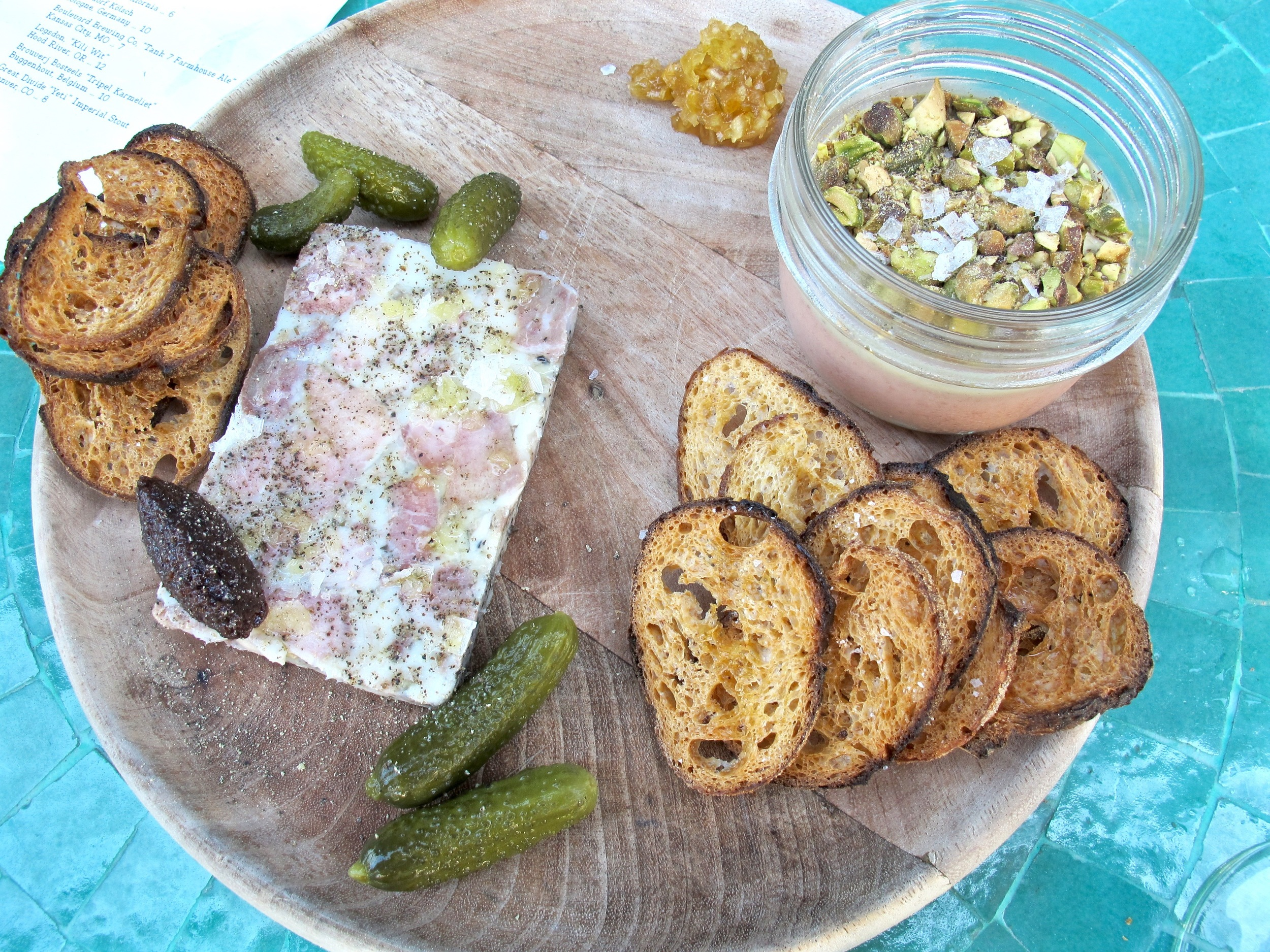 Esters pork terrine and chicken liver in a jar