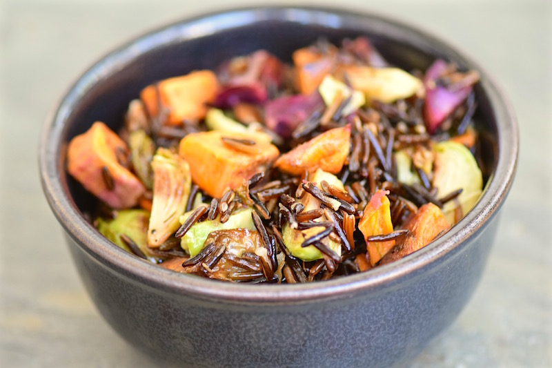 Wild Rice with Sweet Potatoes and Brussels Sprouts | TastingPage.com
