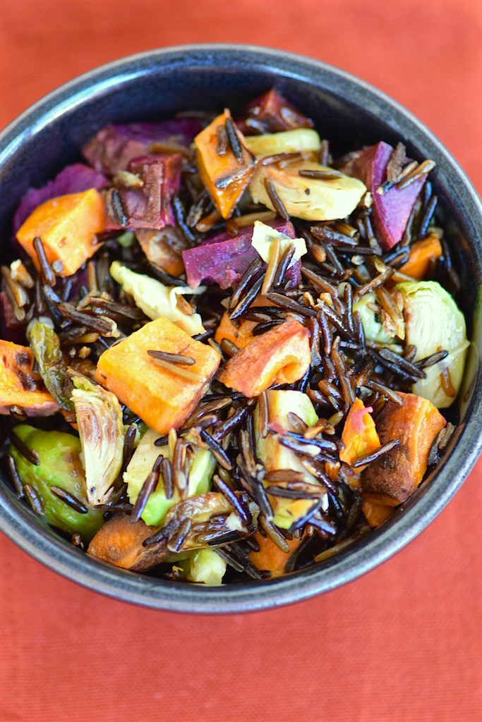 Sweet Potato Brussels Sprouts Wild Rice | TastingPage.com
