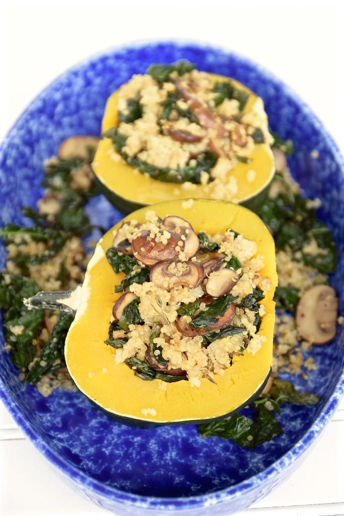 Kale Quinoa Stuffed Acorn Squash   TastingPage.com