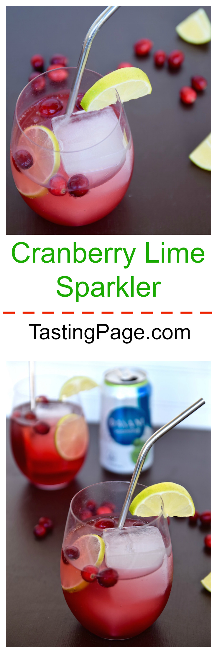 Cranberry Lime Holiday Sparkler | TastingPage.com