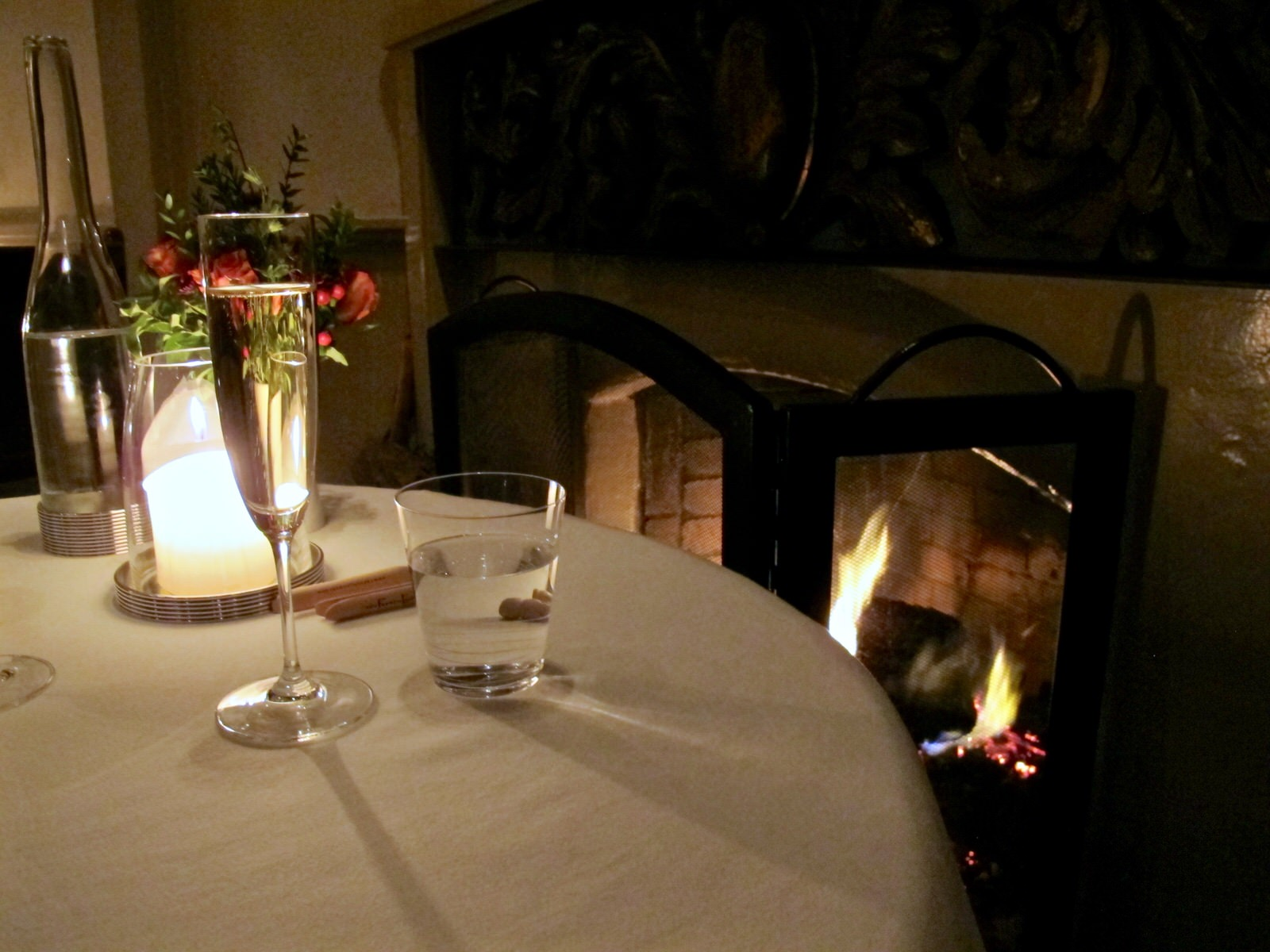 French Laundry fireplace table