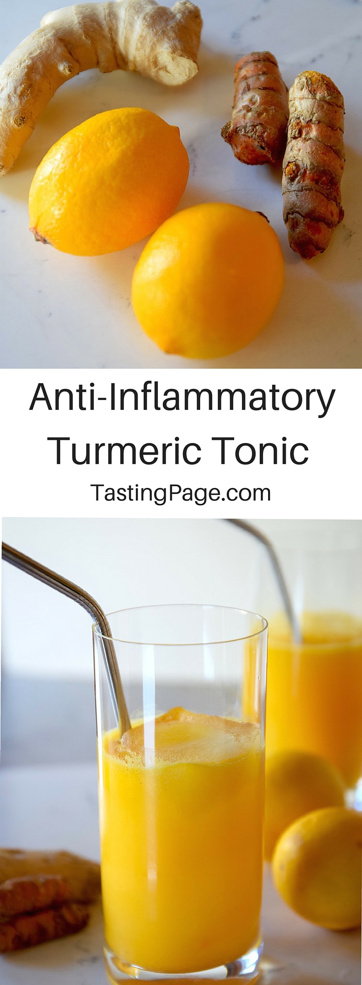 Fight swelling in the body with this Anti-Inflammatory Turmeric Tonic. It's tasty & super healthy | TastingPage.com #turmeric #antiinflammatory #superfood #turmericrecipe #turmerictonic #elixir #drink