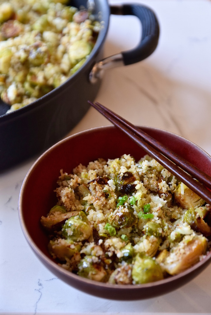 Brussels Sprouts and cauliflower rice
