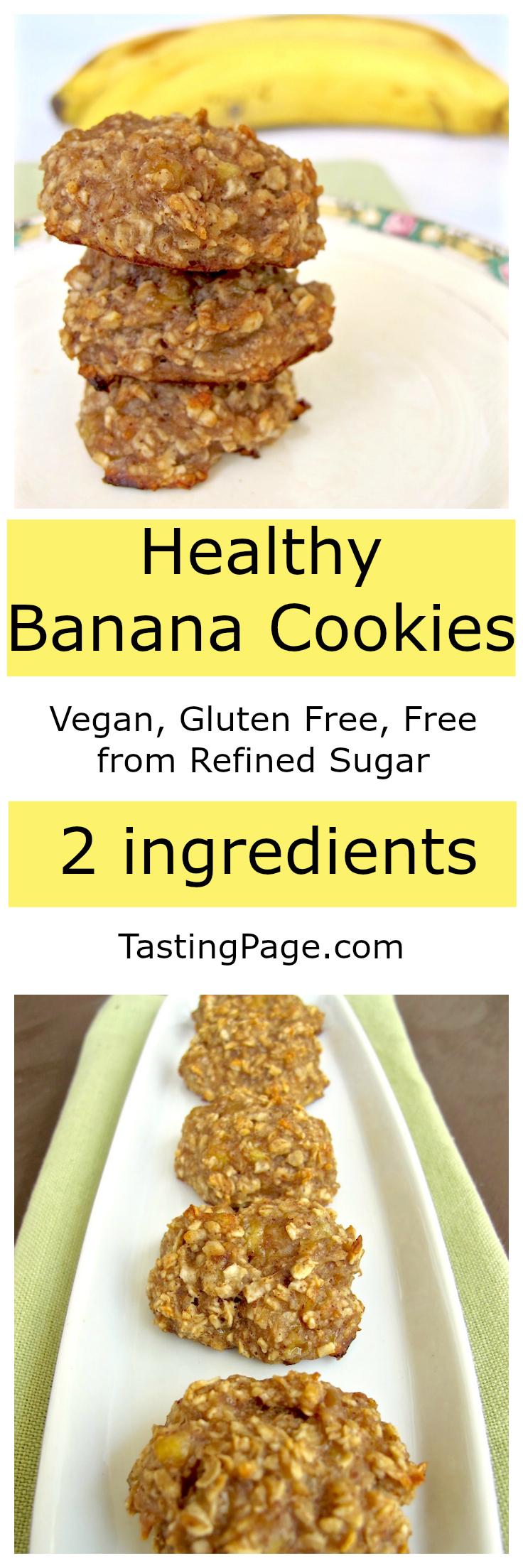 Healthy Banana Cookies - Vegan, gluten free, free from refined sugar | TastingPage.com