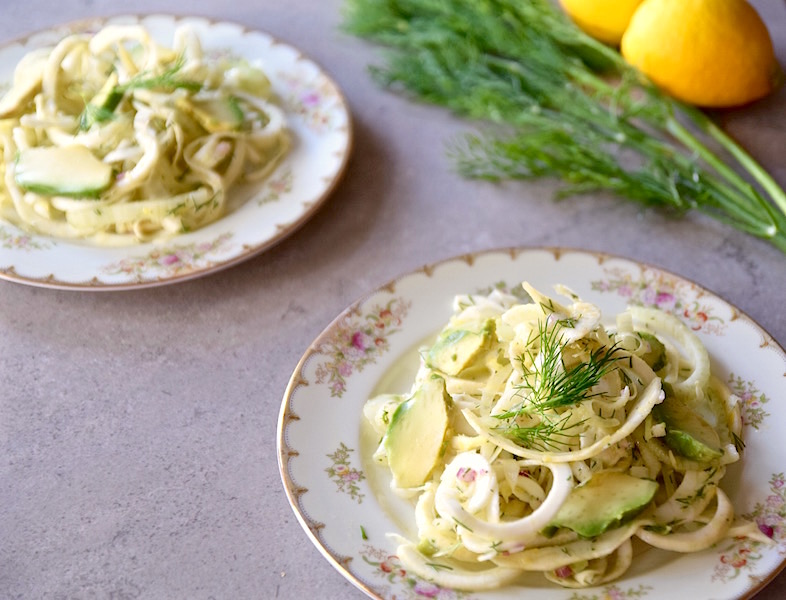 Celeriac Fennel Dill Salad with Avocado | TastingPage.com