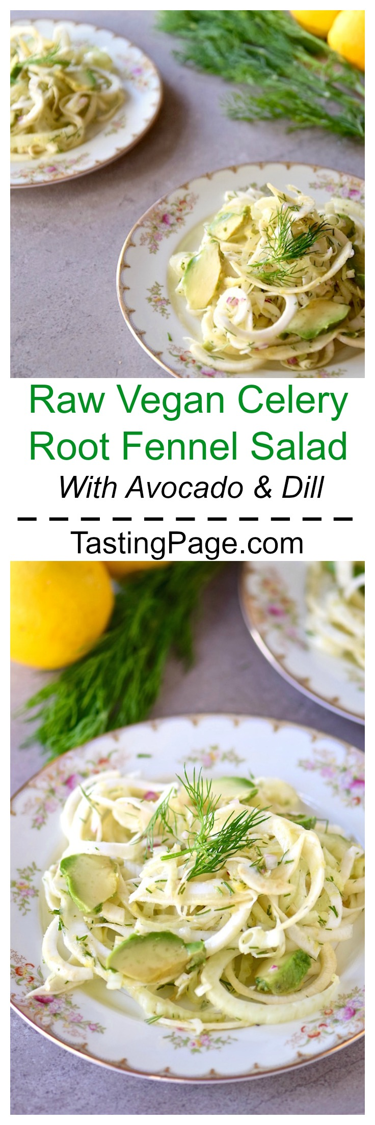 Raw Vegan Celery Root Fennel Salad with Dill and Avocado | TastingPage.com