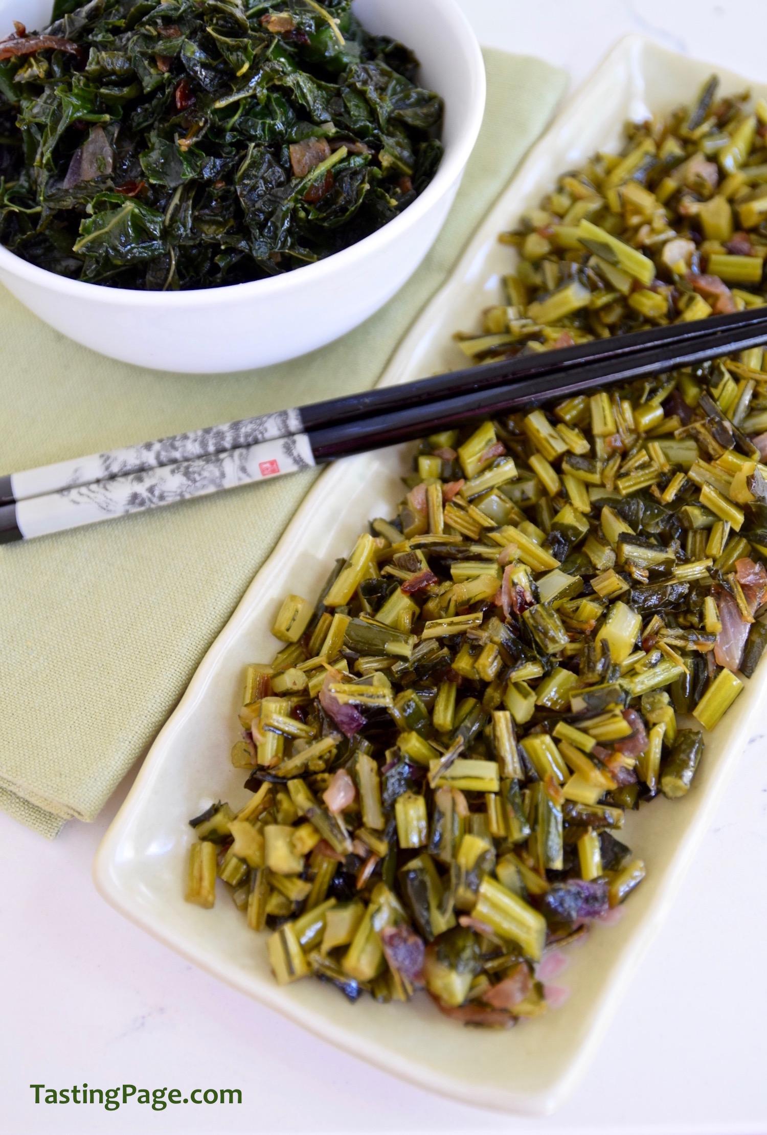 Smoky Sauteed Kale Stems   TastingPage.com