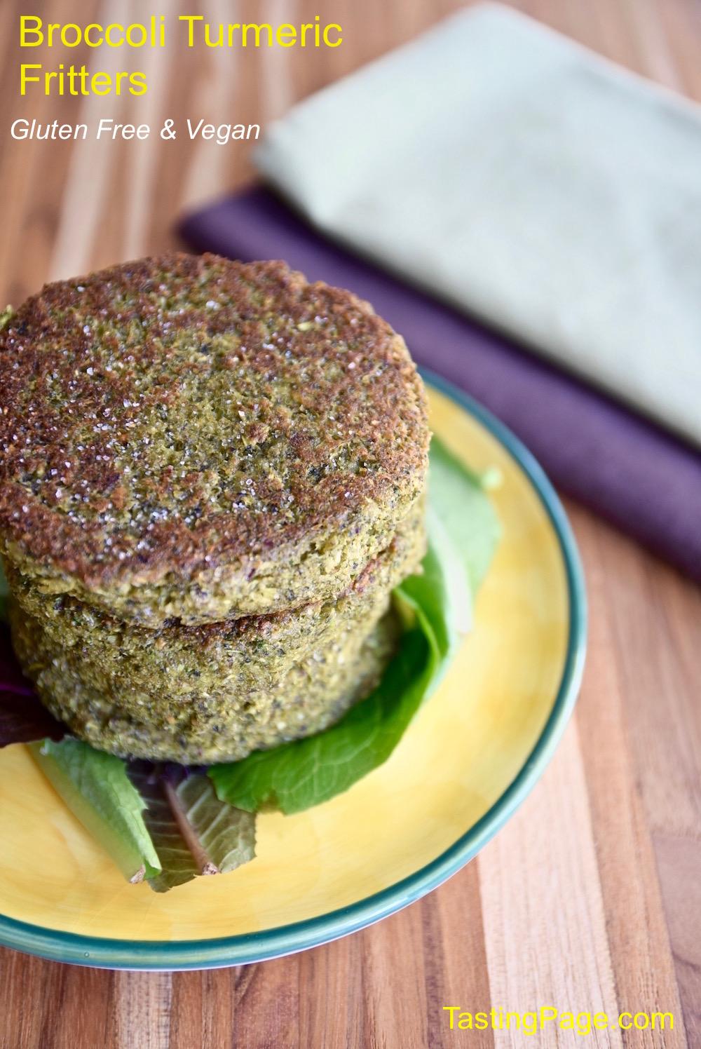 Broccoli Turmeric Fritter - gluten free and vegan   TastingPage.com