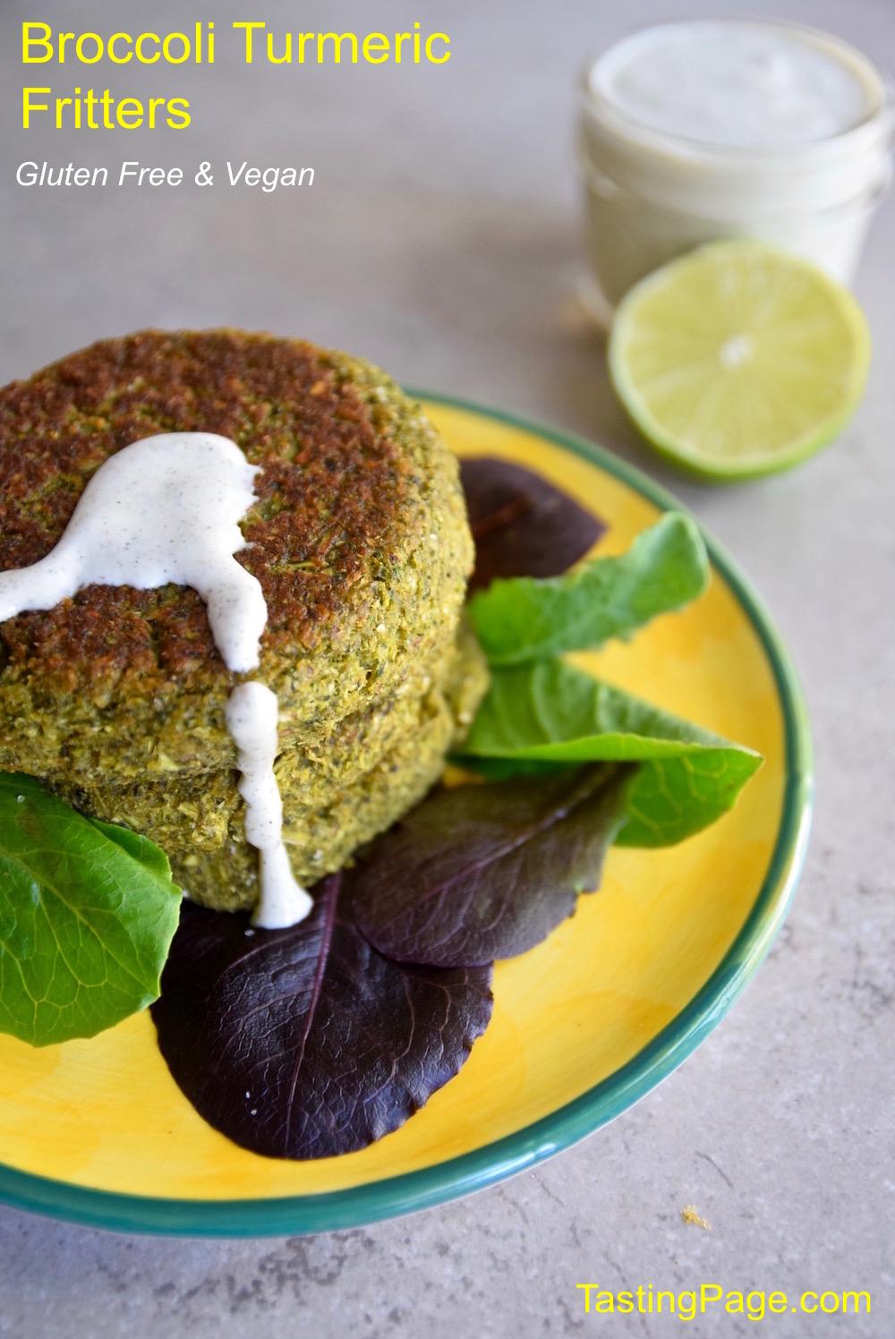 Broccoli Turmeric Fritters - gluten free and vegan   TastingPage.com
