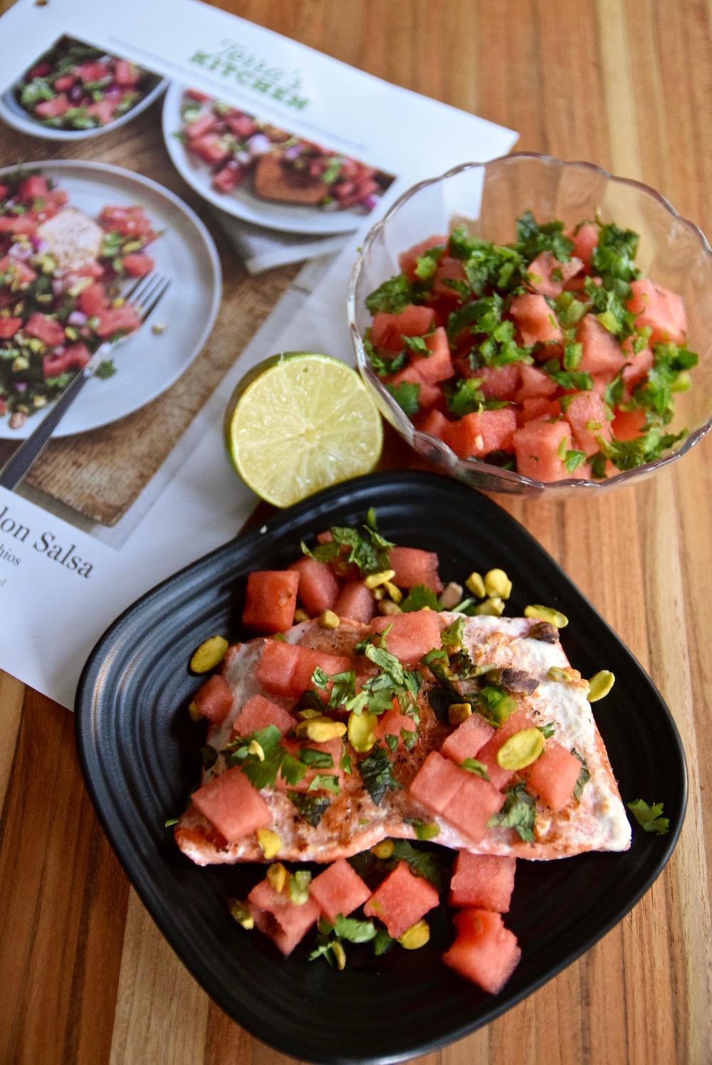 Terra's Kitchen salmon and watermelon salsa