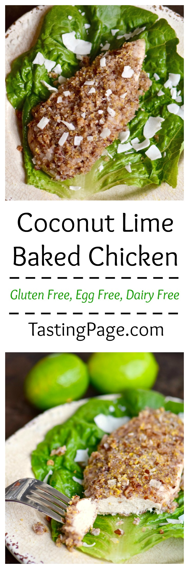 Gluten free dairy free coconut lime baked chicken | TastingPage.com