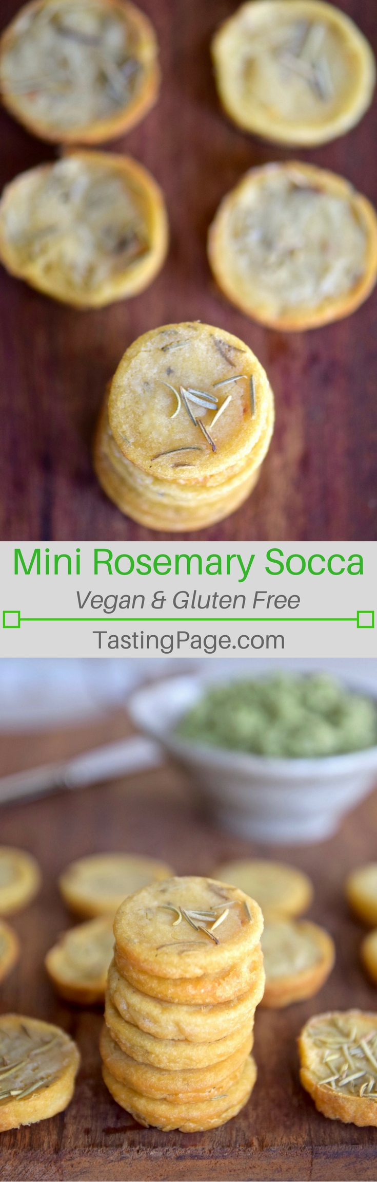 Gluten Free Vegan Mini Rosemary Socca Rounds - healthy snack option or use in place of a crostini at your next party | TastingPage.com