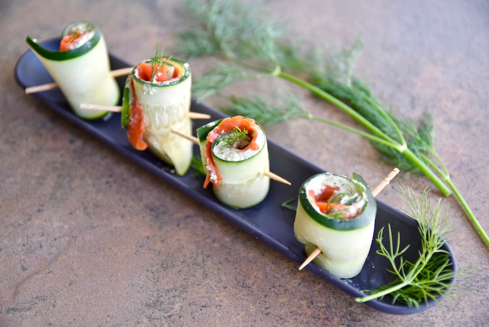 Salmon Cucumber Roll Ups are an easy gluten free, dairy free appetizer to serve at the holidays | TastingPage.com