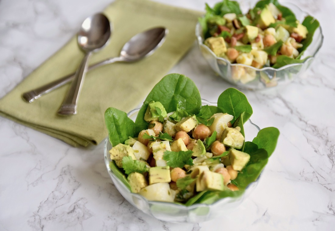 Avocado Chickpea Lettuce Cups with Hearts of Palm - a pretty brunch or lunch item, or add your favorite protein for a complete healthy meal - gluten free, dairy free and vegan | TastingPage.com
