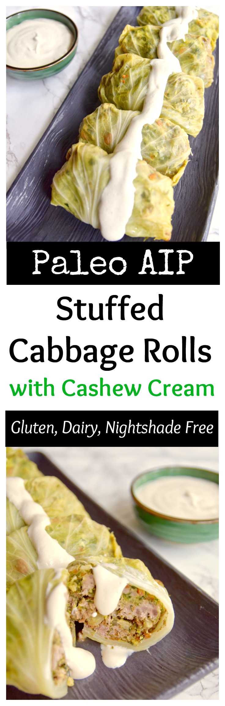 This tomato-less stuffed cabbage with cashew cream is great for St. Patrick's Day or any day of the year. It's dairy free, rice free and night shade free so great for AIP Paleo or a healthy meal | TastingPage.com #aip #aippaleo #paleo #paleodiet #paleodinner #stpatricksday #saintpatricksday #cabbage #glutenfree #glutenfreerecipes #dairyfree