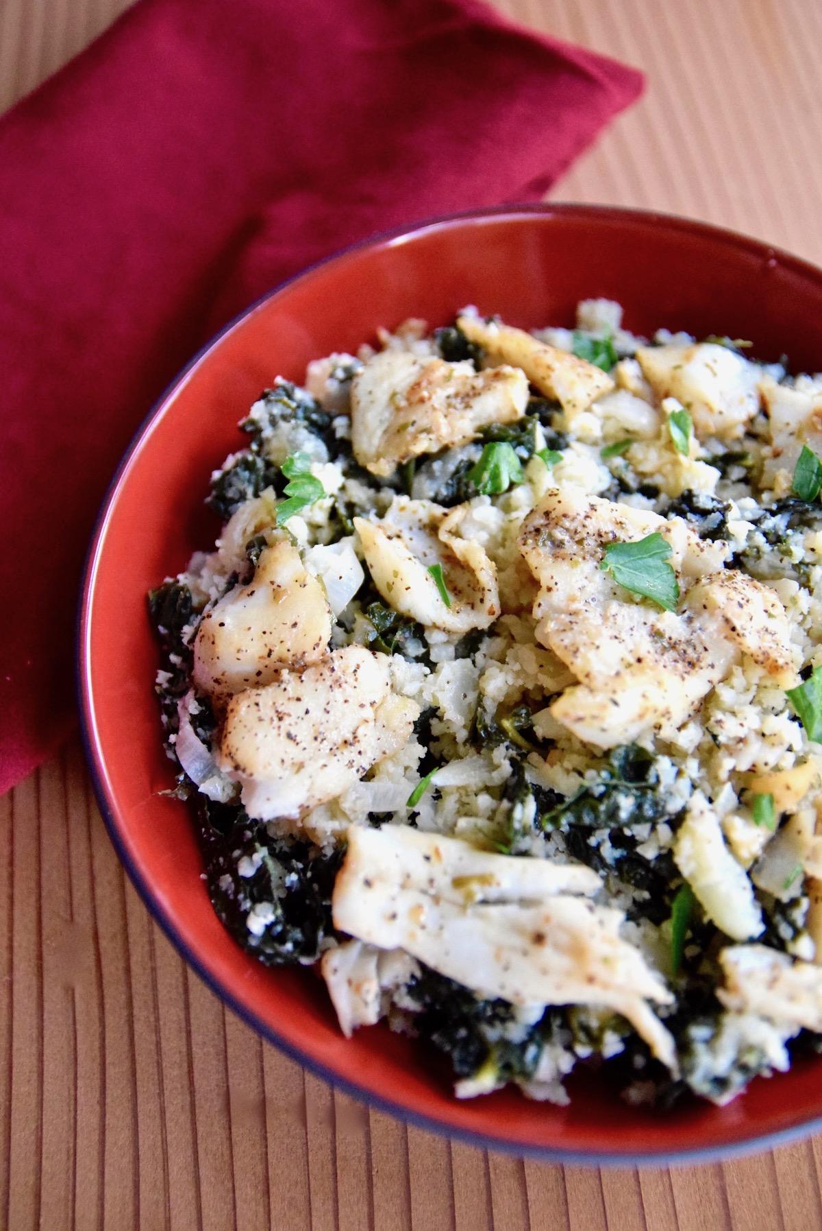 Cauliflower rice with kale and cod | TastingPage.com