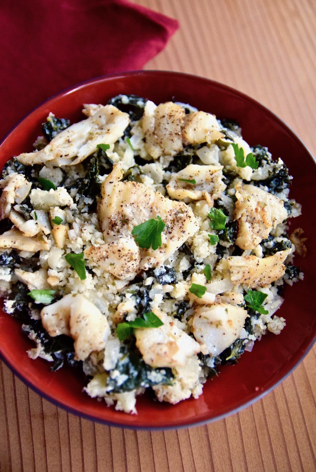 Cauliflower kale cod bowl - gluten free, dairy free, paleo recipe | TastingPage.com