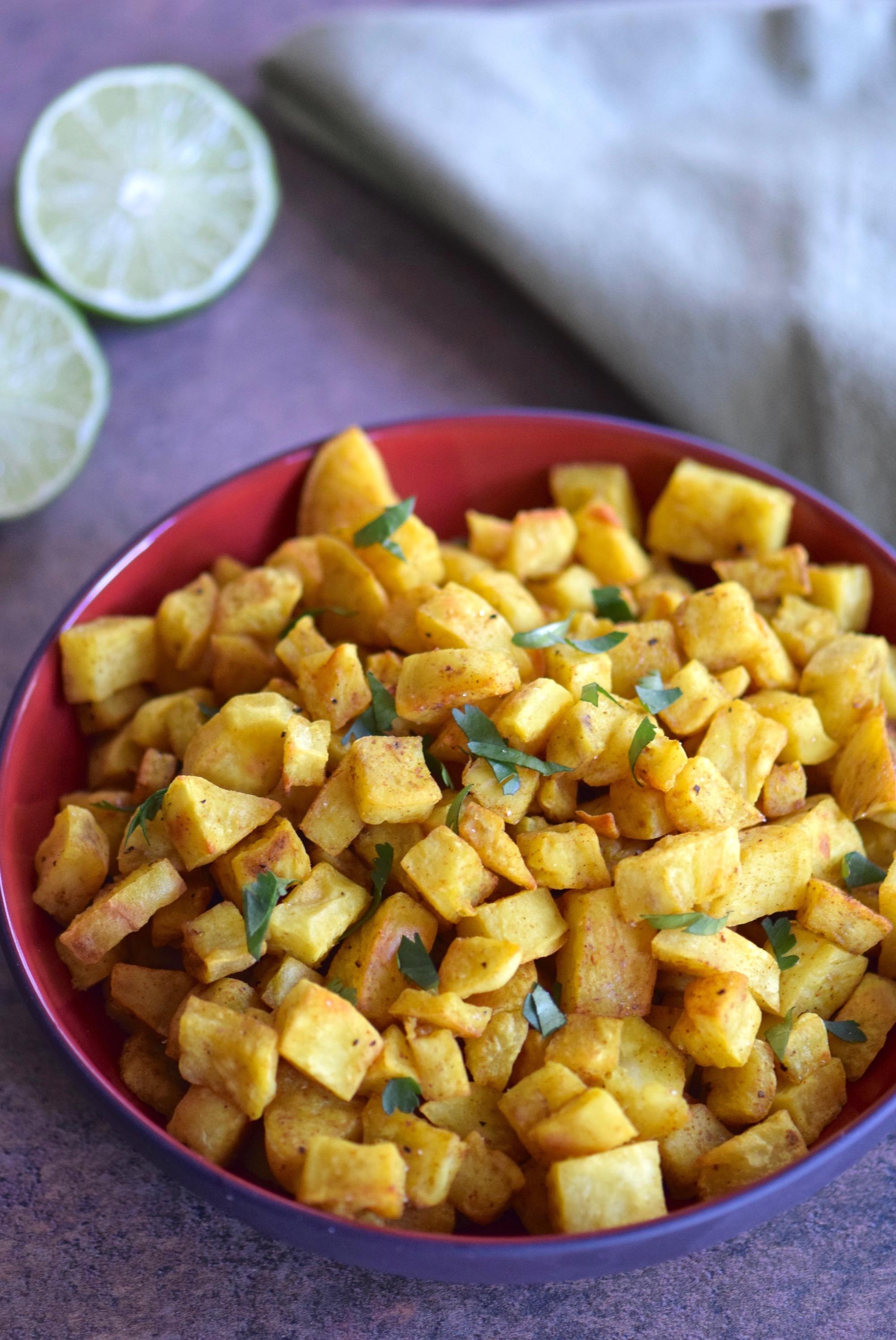 Curry Lime Roasted Sweet Potatoes - gluten free and vegan   TastingPage.com
