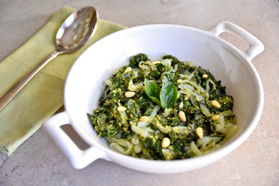 Kale pesto shirataki noodles - an easy and tasty gluten free, dairy free, vegan and paleo dish | TastingPage.com