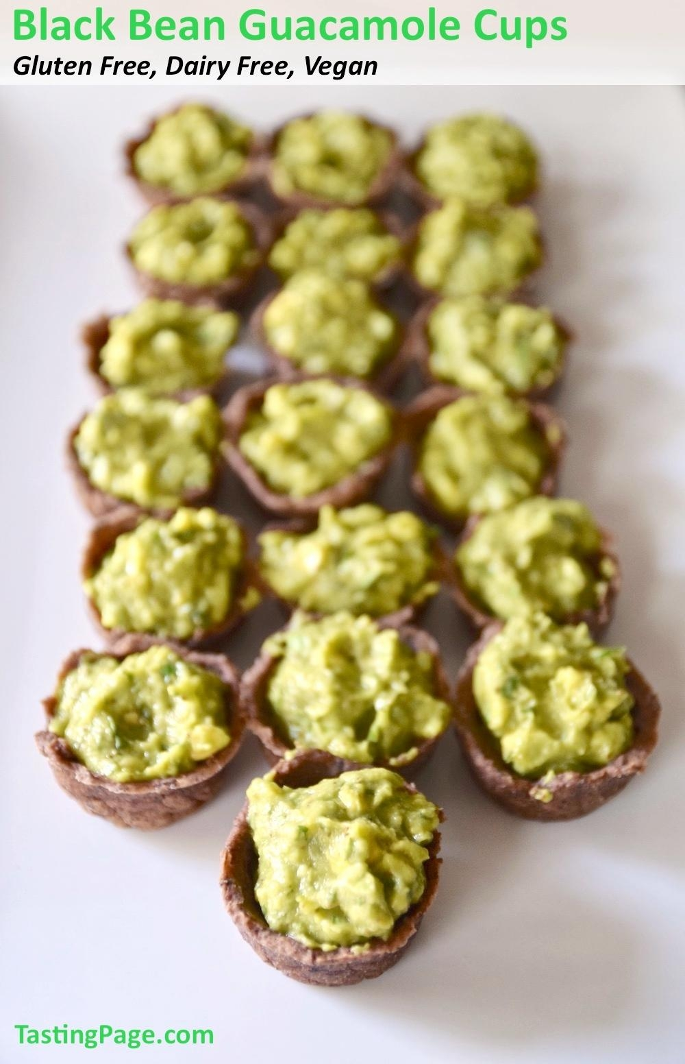 A healthy gluten free appetizer or snack that does away with the chip for a black bean guacamole cup   TastingPage.com