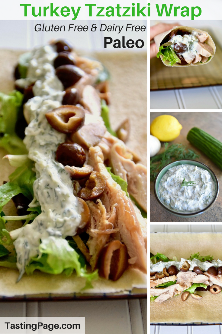 These paleo turkey tzatziki wraps make for a healthy lunch that's easy to pull together. They're gluten free and dairy free, and delicious! | TastingPage.com