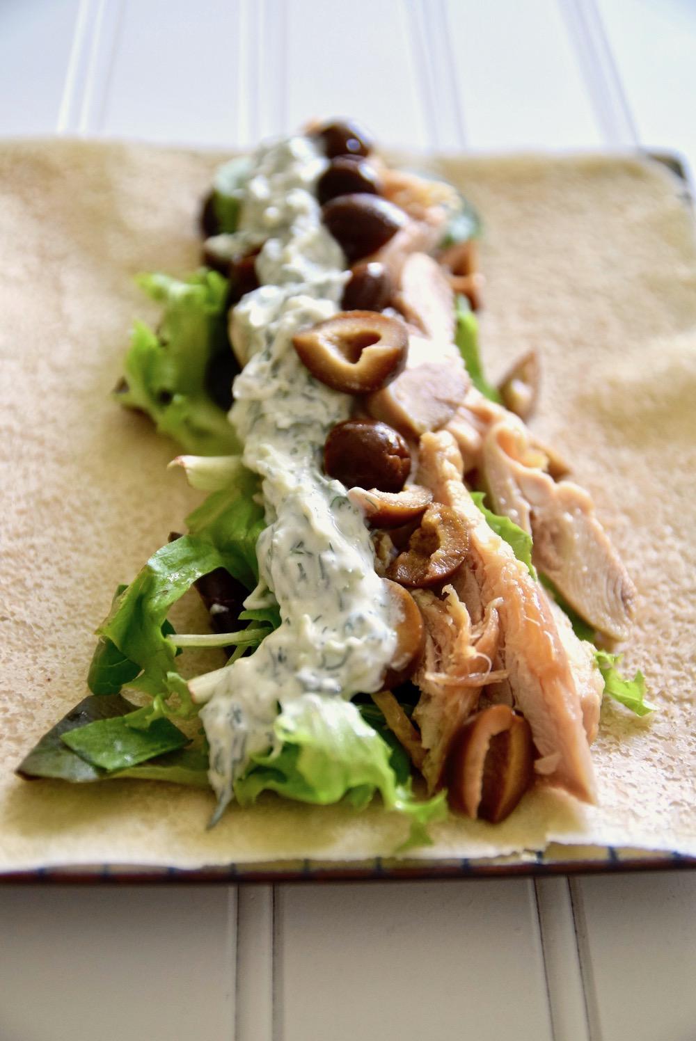 Turkey tzatziki wrap gluten free dairy free paleo