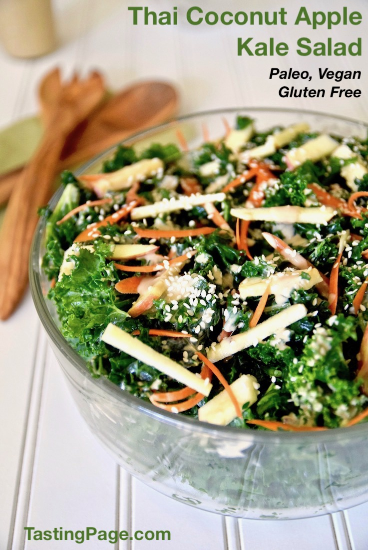 Breathe new life into your greens with this Thai coconut apple kale salad. Creamy coconut combines with nut butter and apple for a sweet and savory combo that paleo, vegan and gluten free | TastingPage.com