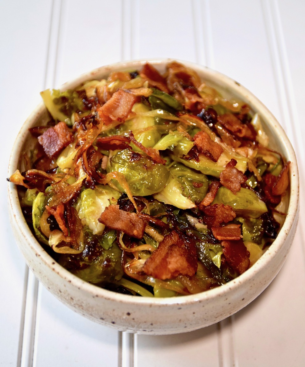 Brussels sprouts with bacon and caramelized onions.