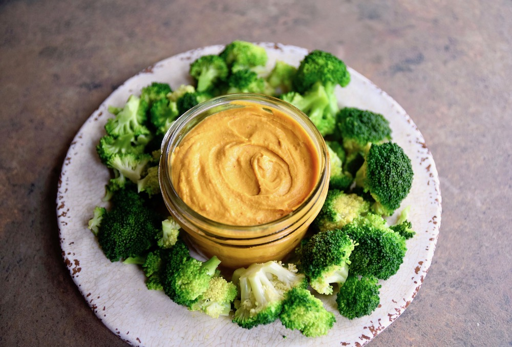 Vegan Paleo Thai Dip with broccoli trees -  a healthier snack or appetizer | TastingPage.com