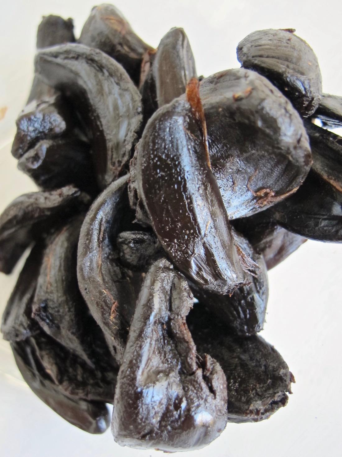 Raw black garlic