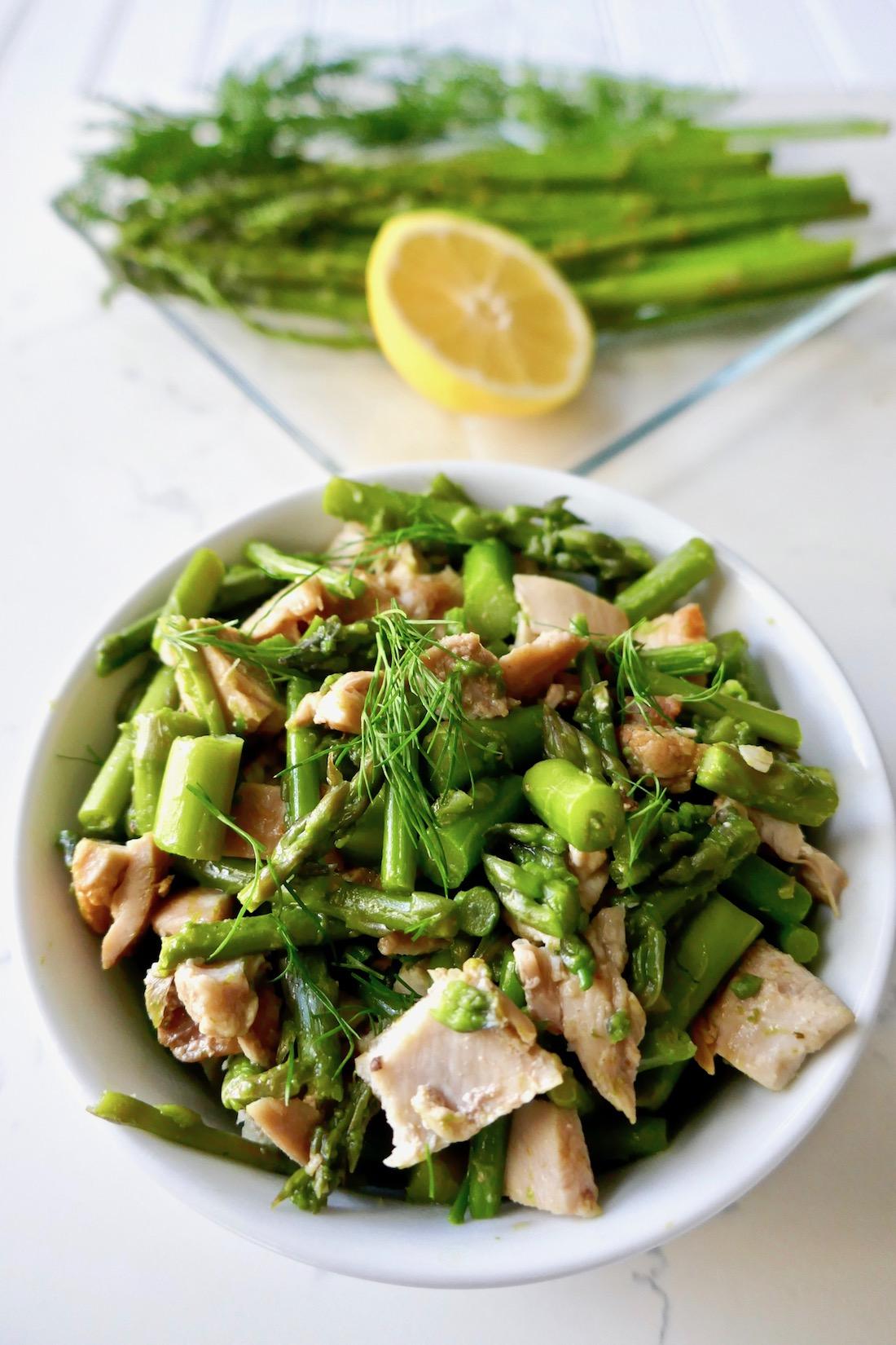 Avocado asparagus chicken salad - paleo, gluten free, dairy free, mayo free